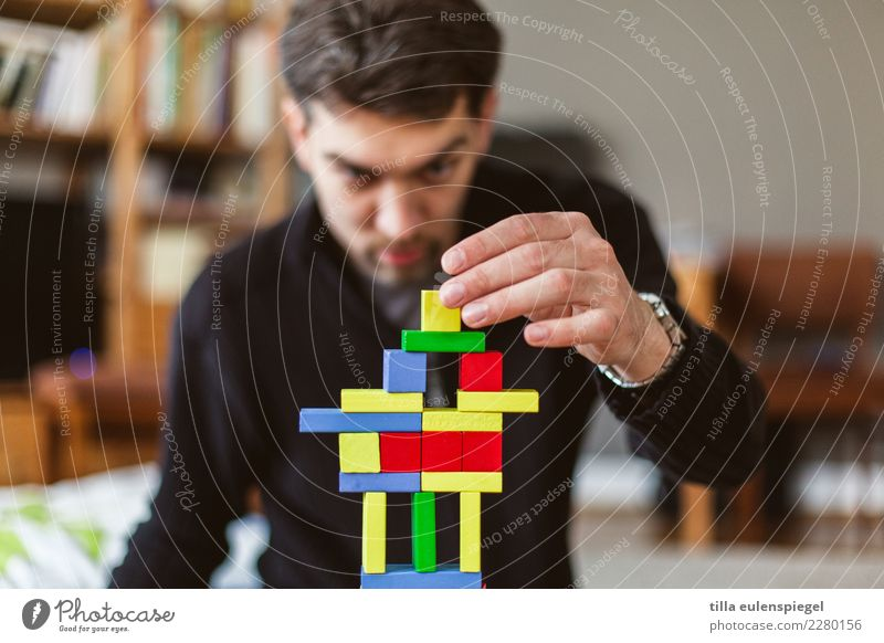 master builder Leisure and hobbies Playing Children's game Masculine Man Adults Father Life 1 Human being 30 - 45 years Toys Wood Build Touch To hold on Looking