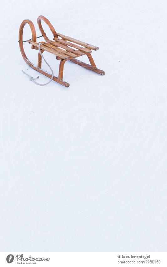 and bye-bye Leisure and hobbies Winter sports Snow Wood Cold Original Vacation & Travel Joy Sleigh Loneliness Individual trestle carriages Winter mood