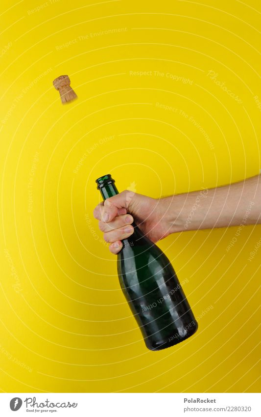 #AS# Pop corks! Art Feasts & Celebrations Yellow New Year's Eve Party goer Cork Corkscrew Hand Bottle Bang Starting shot Birthday cheers Toast To hold on yeah
