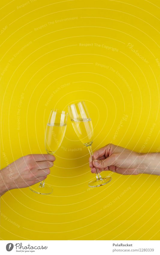 #AS# PROST ! Human being Feasts & Celebrations New Year's Eve Kick off Toast Sparkling wine Champagne Hand Society Group Friendship Birthday Glass Yellow cheers