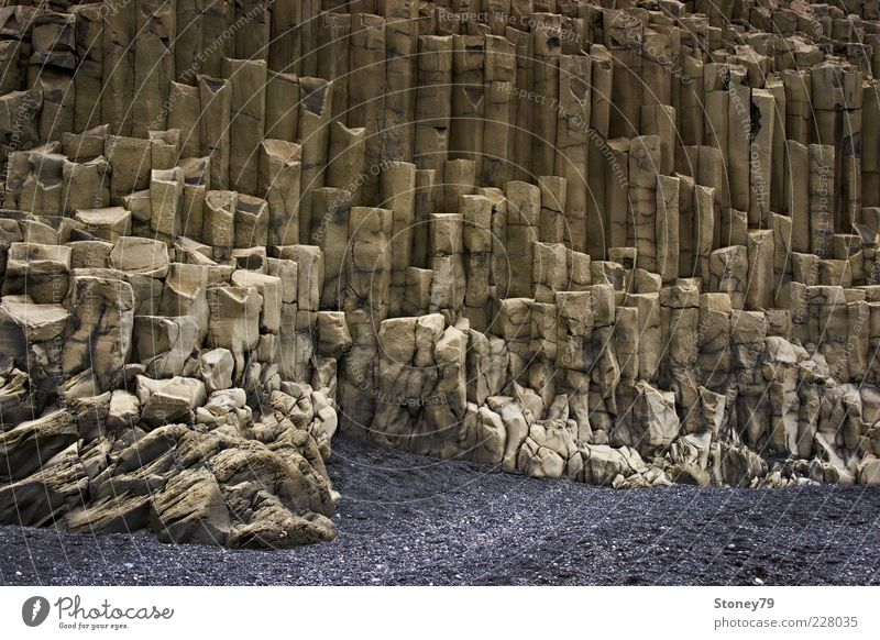 Nature Landscape Gray Sand Stone Brown Rock Exceptional Iceland Bizarre Sharp-edged Pattern Basalt Rock formation