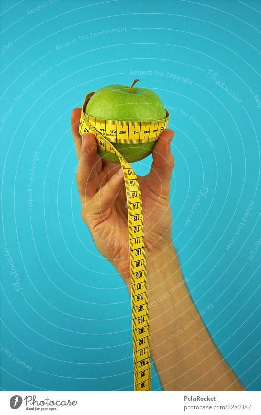 #AS# Fitness I Life Eating Apple Tape measure Hand Blue Green Healthy Eating Diet Organic produce Good intentions Measure Fingers Nutrition Movement Fruit