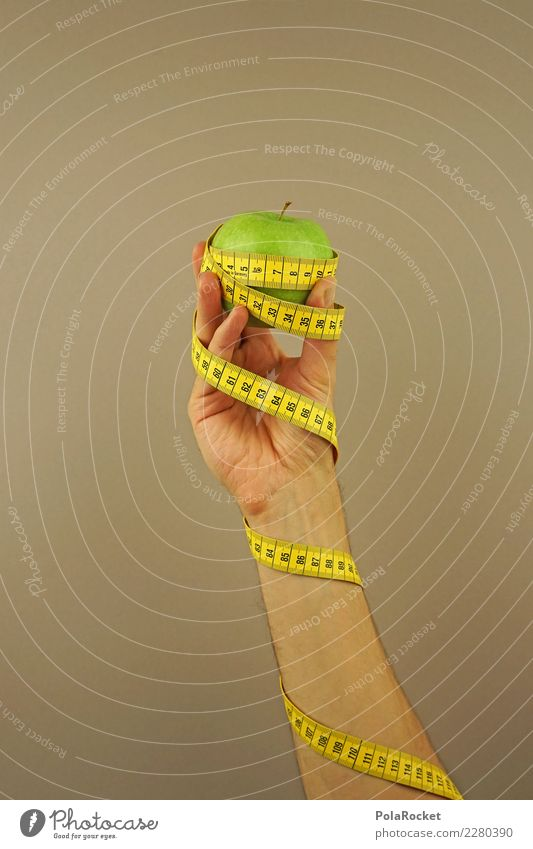 #AS# Fitness III Sports Training Eating Apple Tape measure Hand Green Yellow Digits and numbers Measure Diet Fruit Beige Fitness centre Nutrition Wrapped around