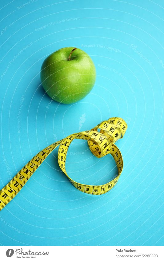 #AS# Fitness II Sports Training Eating Tape measure Yellow Blue Green Apple Healthy Eating Diet Nutrition Weight Organic produce Measure Good intentions Fruit