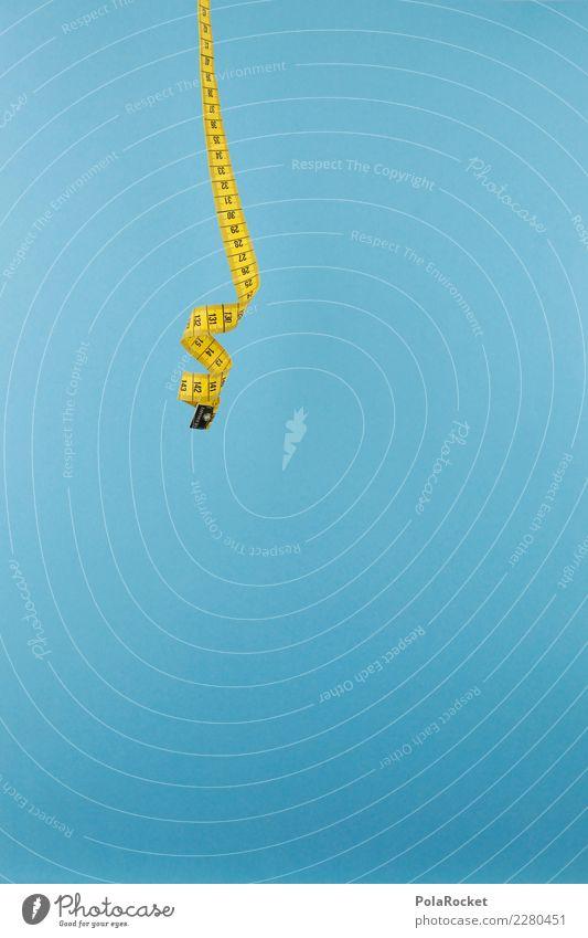 #AS# hang loose Art Esthetic Blue Tape measure Measure Centimeter Unit of measurement Yellow Hang Suspended Sagging Colour photo Multicoloured Interior shot