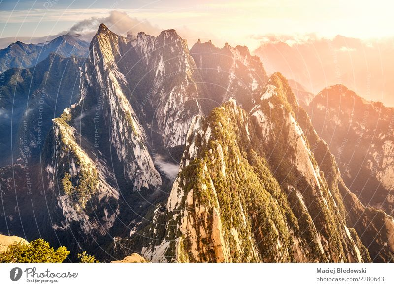 View from Huashan South Peak China at sunset. Vacation & Travel Tourism Trip Adventure Expedition Mountain Climbing Mountaineering Nature Landscape Sky Hill
