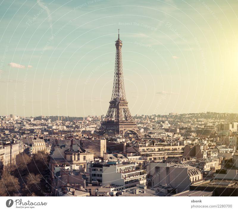 Tour Eiffel Paris Town Capital city Skyline Tourist Attraction Landmark Monument Eiffel Tower Vacation & Travel City France French architecture Exterior shot