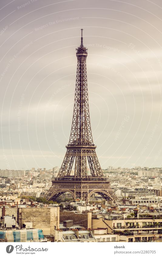 Paris Eiffel Tower Town Tourist Attraction Landmark Monument Vacation & Travel France Colour photo Exterior shot