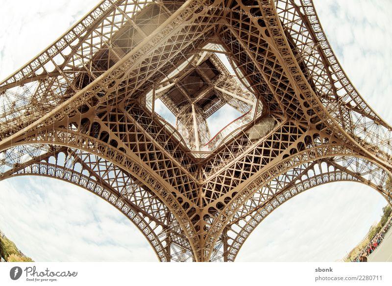 Eiffel Tower from below Paris Town Downtown Manmade structures Building Tourist Attraction Landmark Monument Vacation & Travel France Colour photo Exterior shot