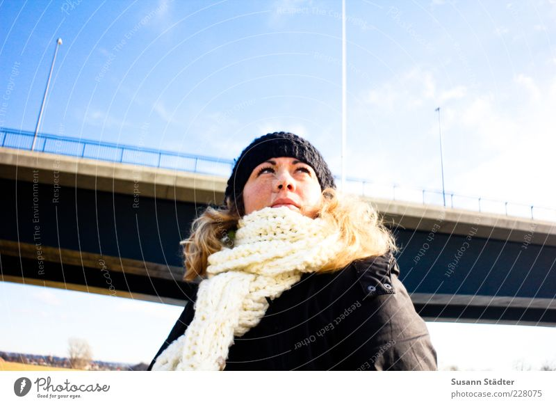 suse Feminine Woman Adults Head Hair and hairstyles 1 Human being Looking Contentment Bravery Self-confident Optimism Scarf Cap Winter Bridge Sky blue Lantern