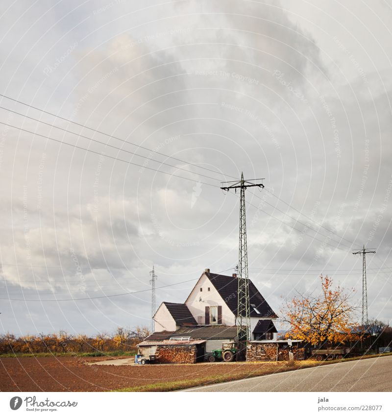 home Landscape Sky Clouds Autumn Plant Tree Field House (Residential Structure) Manmade structures Building Architecture Gloomy Electricity pylon Farm Tractor