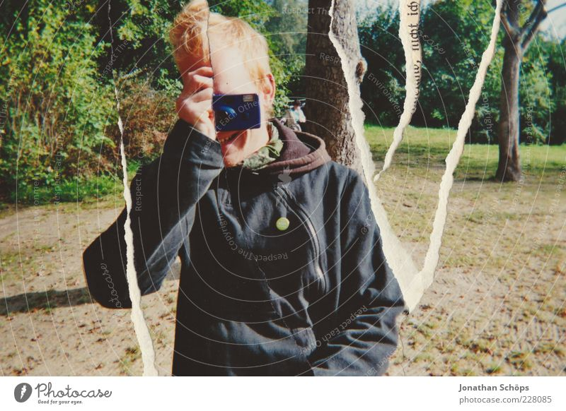 young man with instant camera analog Lifestyle Joy luck Human being Masculine Young man Youth (Young adults) Friendship 1 18 - 30 years Adults Funny Happiness