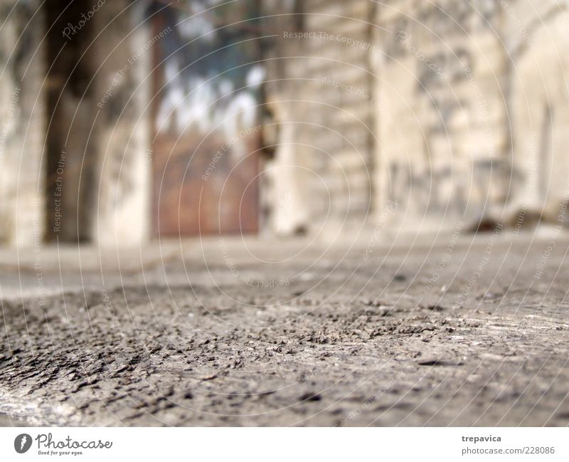 ... Ruin Wall (barrier) Wall (building) Wood Rust Old Poverty Dirty Brown Gray Detail Deserted Blur Worm's-eye view Ground Gloomy Copy Space bottom
