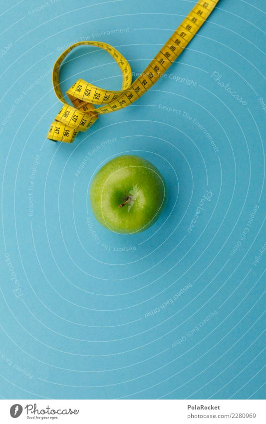 #AS# Fitness V Sports Training Diet Apple Tape measure Green Yellow Measure Vitamin Nutrition Eating Blue Good intentions Fat Thin Beautiful Fruit Weight