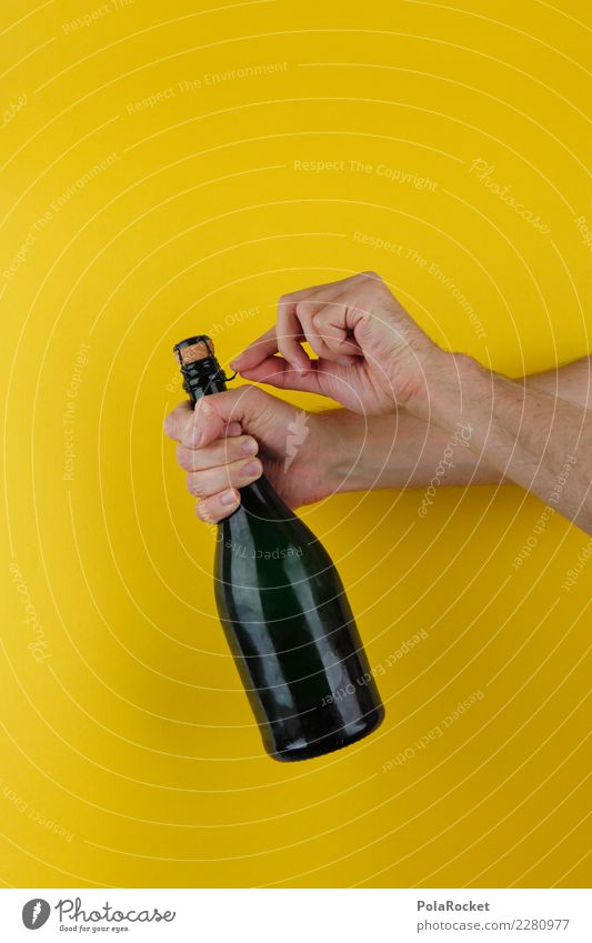 #AS# Alcohol! Art Esthetic Sparkling wine Champagne bottle Bang Undo Cork Willow corkscrew Yellow Hand Congratulations Success Feasts & Celebrations
