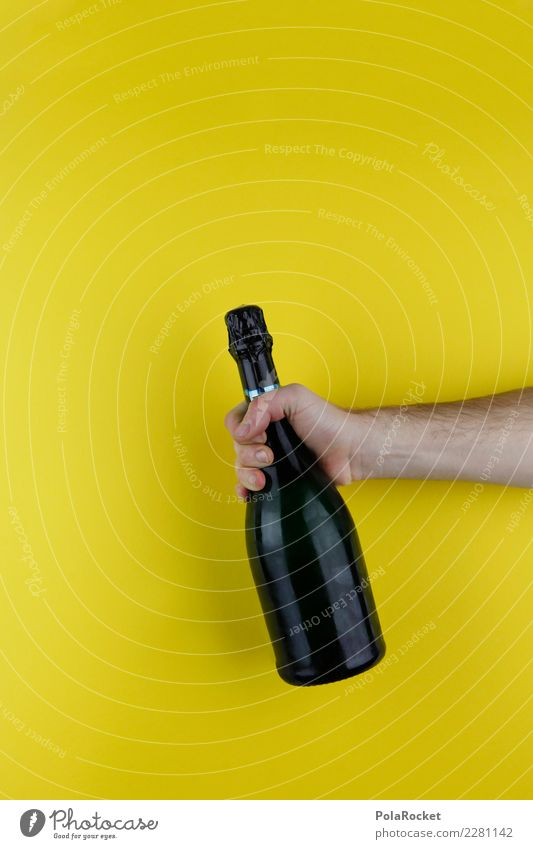 #AS# Alcohol black-yellow Art Esthetic Alcoholic drinks Alcohol-fueled Sparkling wine Champagne bottle Party Feasts & Celebrations Party mood Party service