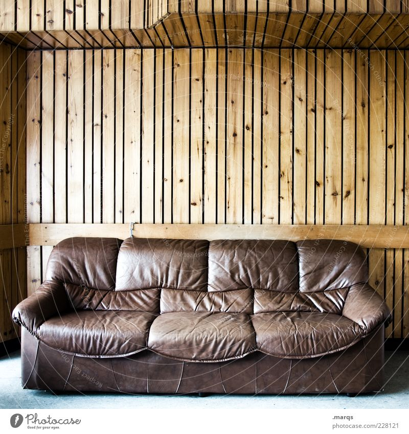 Sit! Lifestyle Living or residing Interior design Sofa Living room Leather Wood Line Brown Seating Colour photo Subdued colour Interior shot Deserted