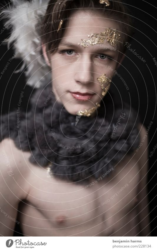 Greed #1 Human being Masculine Young man Youth (Young adults) 18 - 30 years Adults Fur goods Brunette Glittering Beautiful Avaricious Colour photo Interior shot