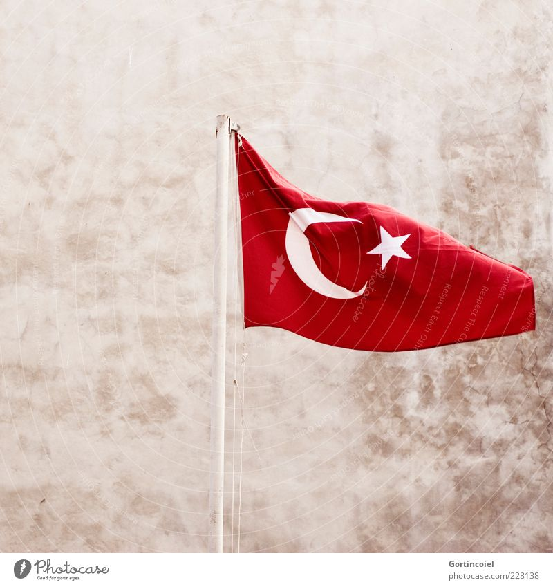 Holiday of the Republic Sign Red Turkey Flag Flagpole laicism Neutral Background Deserted Symbols and metaphors Ensign National Day Nationalities and ethnicity