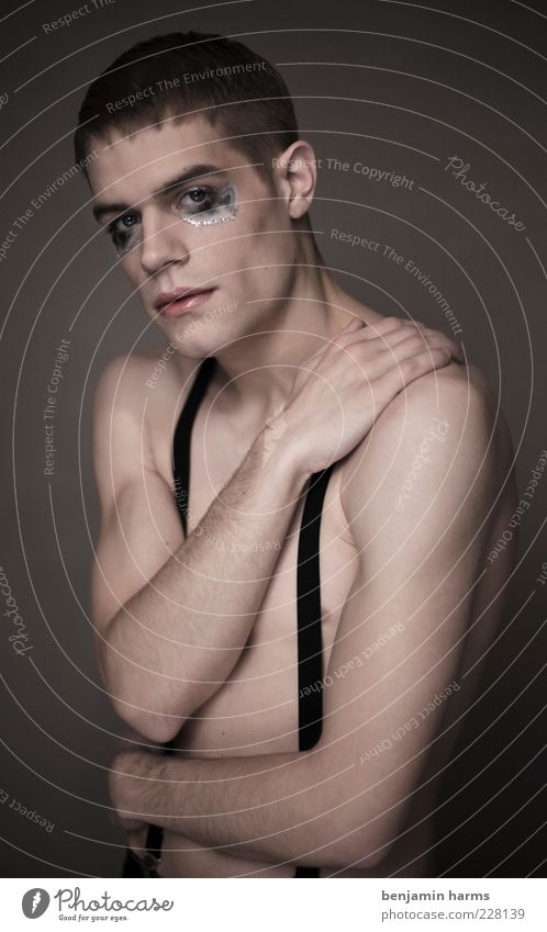 Human being Youth (Young adults) Adults Emotions Sadness Arm Exceptional Young man Masculine 18 - 30 years Gloomy Shoulder Short-haired Indifferent Androgynous Suspenders