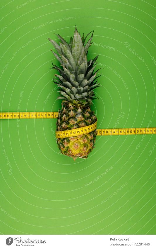 #AS# Pineapple single wrapped Art Work of art Esthetic Ananas leaves Pineaple platation Fruit Exotic Tape measure Diet Measure Calorie Decreasing Healthy Eating