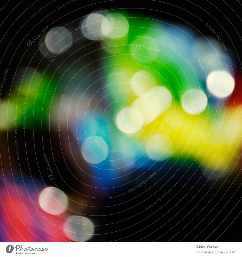 Colourful with stains Packaging Glittering Blue Multicoloured Yellow Green Violet Red Black White Design Creativity Light Blur Colour photo Close-up Deserted