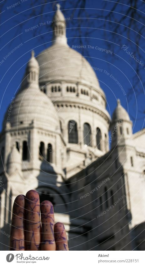 Vacation & Travel Architecture Funny Tourism Fingers Exceptional Church Europe Manmade structures Paris Landmark France Capital city Tourist Attraction Painted