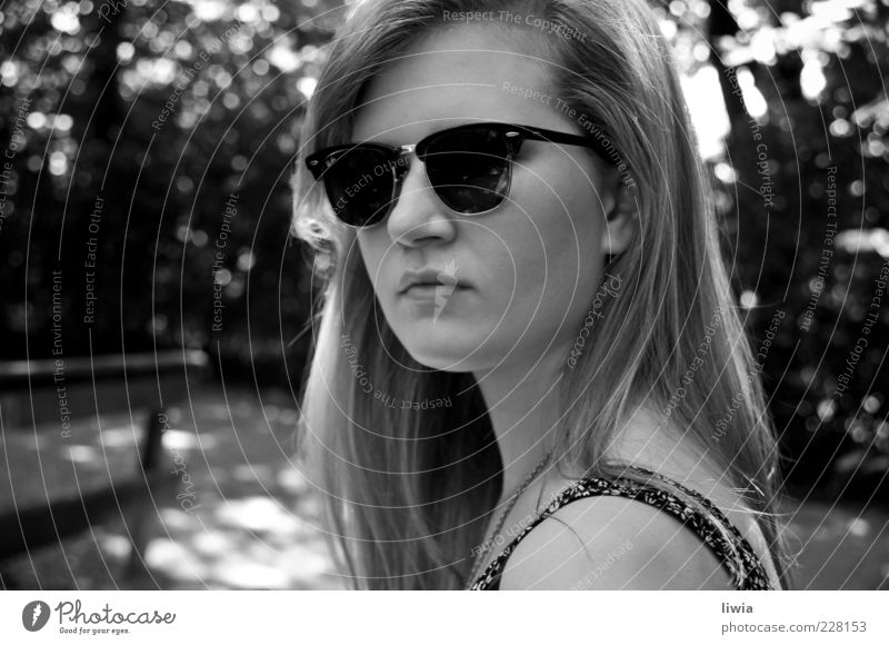 At Home Youth (Young adults) Long-haired Reliability Ray Ban Face of a woman Looking into the camera 1 Young woman Black & white photo Exterior shot