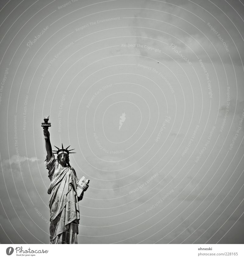 standard lamp Sky New York City USA Tourist Attraction Landmark Statue of Liberty Sign Freedom Black & white photo Copy Space right Copy Space top Day