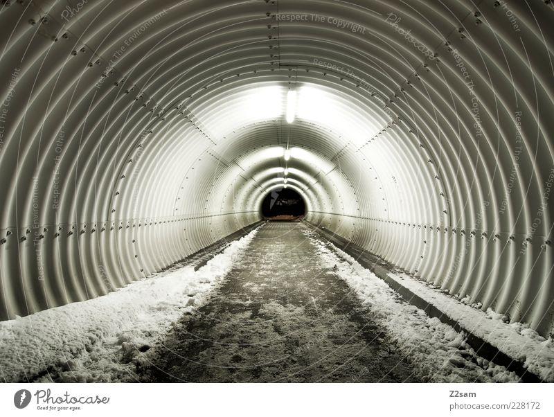 Winter Cold Dark Snow Lanes & trails Lighting Modern Esthetic Round Target Tracks Infinity Tunnel Corridor Puristic Tunnel vision