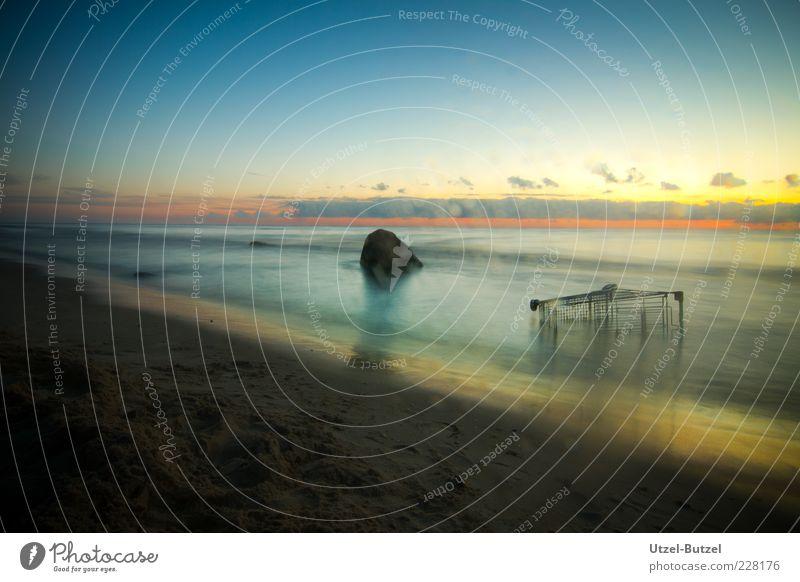 Joy Ocean Beach Far-off places Horizon Infinity Mystic Concern Surf Night sky Environmental pollution Shopping Trolley Thrifty Stone Sunset
