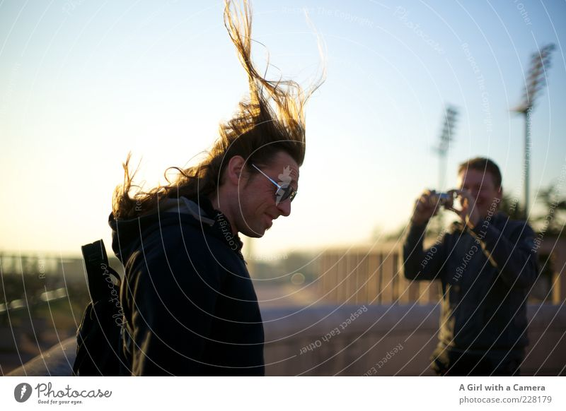 Human being Man Joy Adults Hair and hairstyles Laughter Friendship Flying Masculine Smiling Beautiful weather Long-haired Photographer Take a photo Blue sky