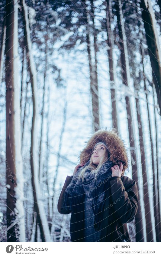 Young Woman in a snowy Forrest at winter looking the sky Human being Youth (Young adults) Winter Far-off places Dark 18 - 30 years Adults Life Lifestyle Sadness