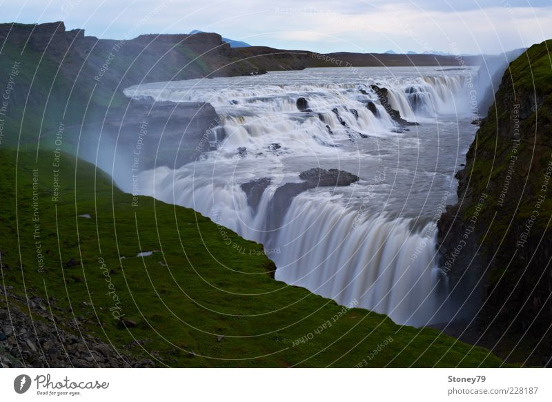 Nature Water Green Far-off places Landscape Gray Brown Power Energy Large Might River Iceland Canyon Waterfall White crest