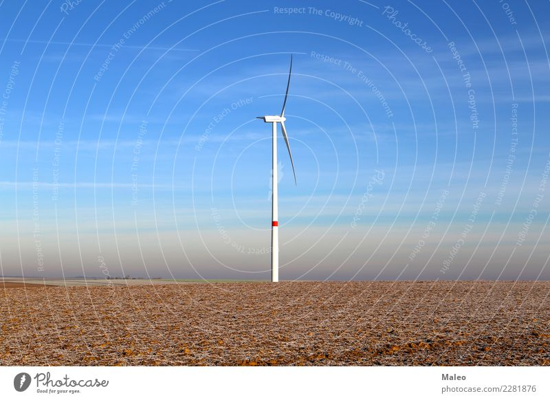 Lonely wind power plant Loneliness Wind energy plant Field Pinwheel Windmill Blue Sky Generator Electric 1 Engines Technology Environment Might Energy