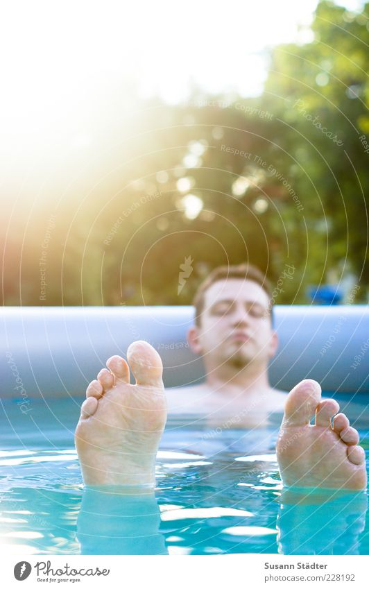 Man Water Blue Summer Calm Relaxation Adults Feet Wet Swimming & Bathing Masculine Swimming pool Hover Float in the water Barefoot Toes