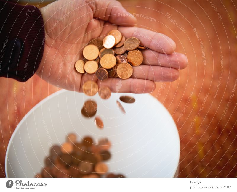 Dispose of 1 cent and 2 cent coins Shopping Money Save Hand Human being Euro Cent 1cent two cents Coin To fall Throw Glittering Disappointment Aggravation
