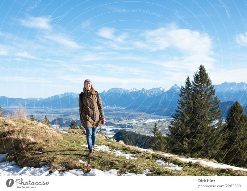 Woman in Kappeler Alp / Nesselwang (Bavaria) Vacation & Travel Tourism Trip Far-off places Freedom Sightseeing Winter Snow Winter vacation Mountain Hiking
