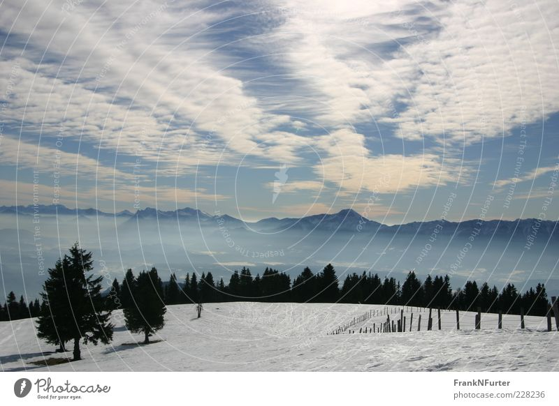 Sky Nature Blue White Vacation & Travel Clouds Winter Far-off places Snow Freedom Environment Mountain Landscape Air Weather Alps