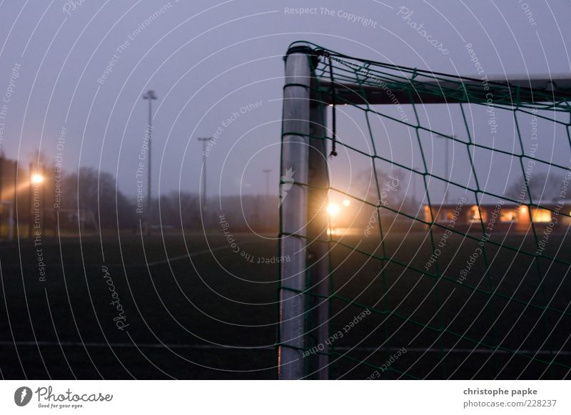 Dark Sports Metal Leisure and hobbies Fog Soccer Empty Stand Corner Net Grass surface Playing field Steel Goal Sports Training Sporting event