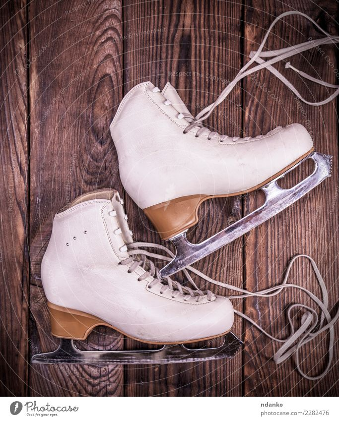 white leather skates for figure skating White Sports Wood Brown Leisure and hobbies Retro Elegant Footwear Figure Leather Rustic Winter sports Antique Shoelace
