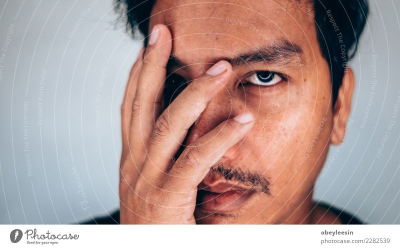 Close up face portrait depressed young man Face Human being Man Adults Grandfather Hand Old Think Sadness Natural Gray Black White Loneliness Fear Age