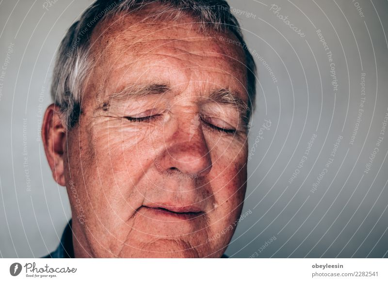 Close up face portrait Older depressed man Face Human being Man Adults Grandfather Hand Think Sadness Natural Gray Black White Loneliness Fear Age background