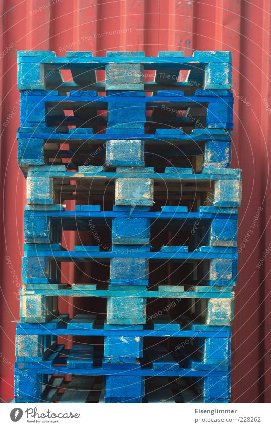 pallets Logistics Authentic Blue Red Trade Competition Boredom Precision Services Stagnating Environment Colour photo Exterior shot Detail Abstract Pattern