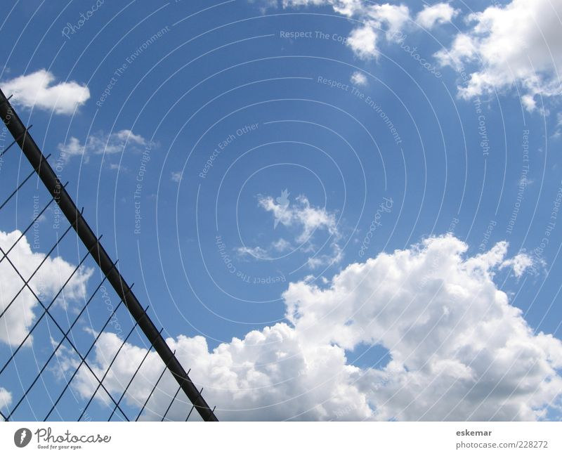 frontier Sky Clouds Beautiful weather Deserted Esthetic Blue Barrier Fence Grating Wire Wire fence Hold Border lattice fence Metalware Freedom Colour photo