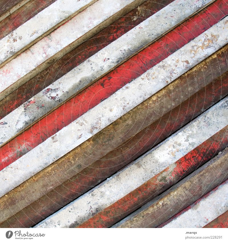 Old White Red Colour Style Metal Line Dirty Simple Transience Rust Narrow Striped Varnish Abrasion Side by side