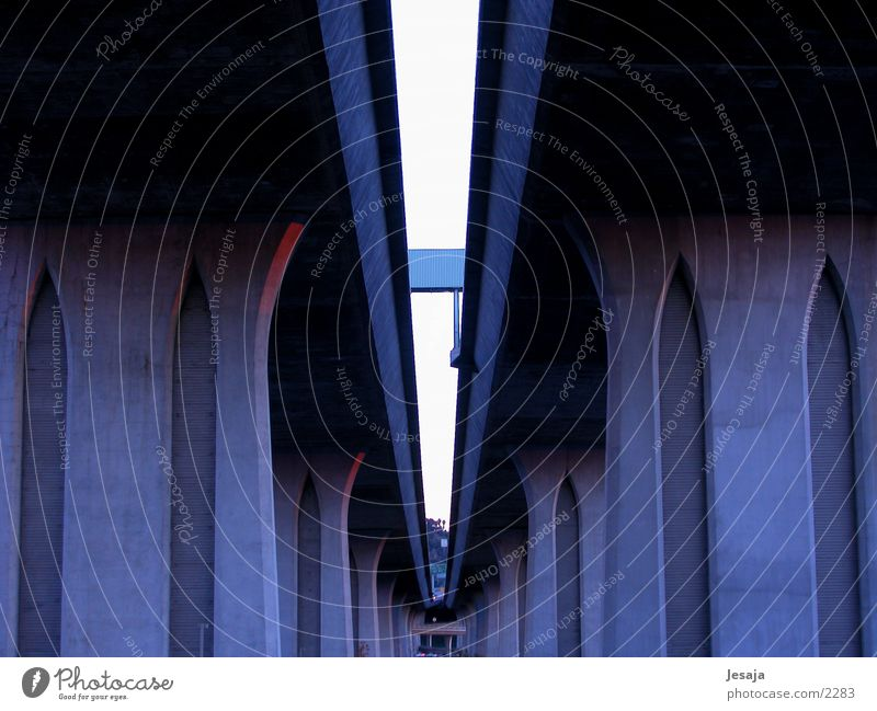 Over pass Empty Dark Architecture Street Blue