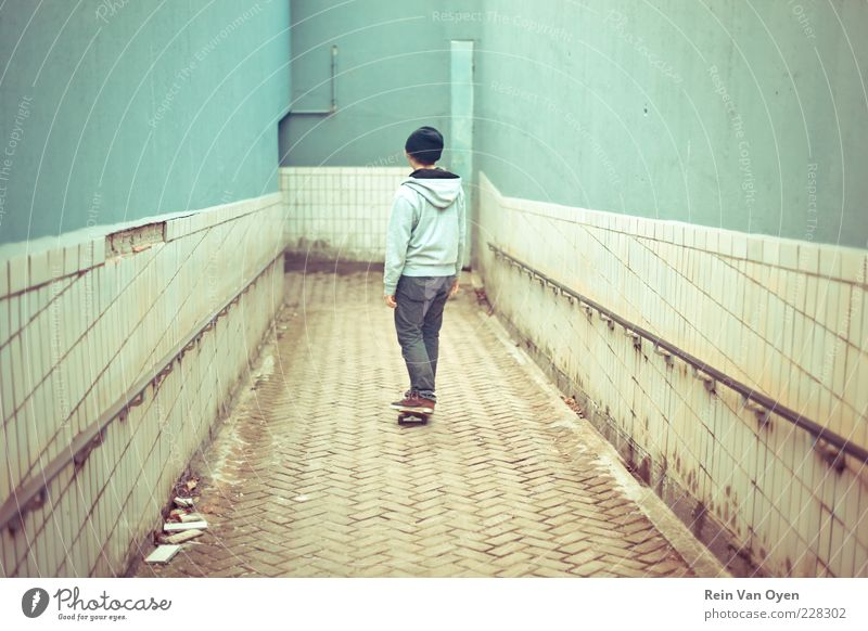 Skateboarding Human being Youth (Young adults) City Vacation & Travel Adults Wall (building) Wall (barrier) Dirty Masculine Transport Railroad Bridge