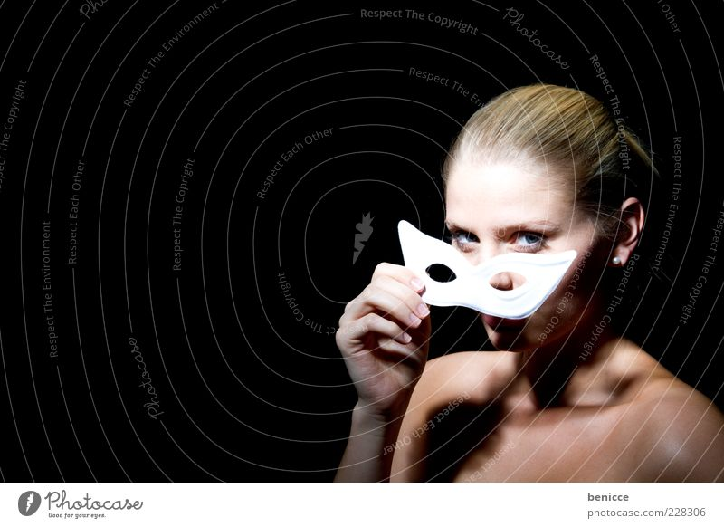 carnival Carnival Mask Woman Human being White Portrait photograph Hide Elegant Noble Beautiful Blonde Naked Looking into the camera Eroticism Anonymous