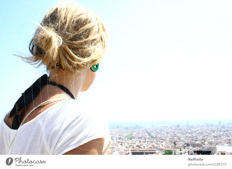 Youth (Young adults) City House (Residential Structure) Hair and hairstyles Bright Blonde Back T-shirt Illuminate Observe Harbour Vantage point Bikini To enjoy Spain Shoulder